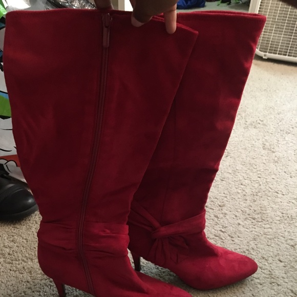 jcpenney Shoes | Red Suede Boots | Poshmark